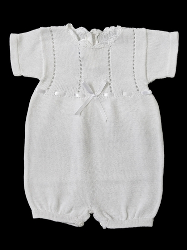 Baby's Trousseau White Knit Ribbon Cross Romper