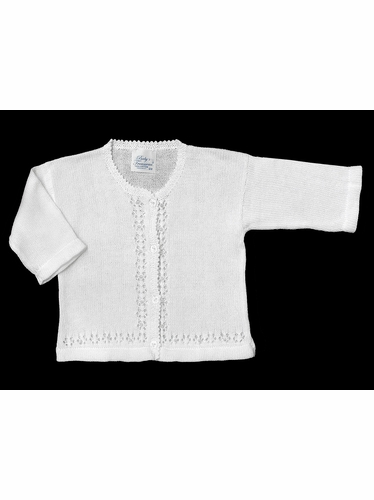 Baby's Trousseau White Pearl Sweater
