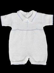 Baby's Trousseau White Romper w/ Blue Trim & Cross
