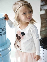 Baby Sara Long Sleeve Shaggy Puppy w/ Beanie Top