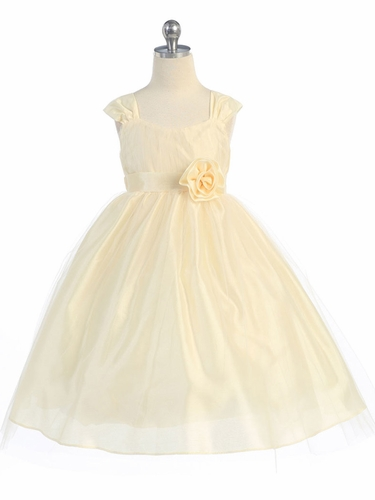 Banana Empire Waist Tulle Dress w/ Poly Silk Sleeve & Sash