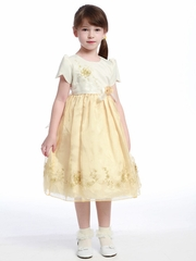 Banana Flower Girl Dress - Organza Skirt Ivory Top