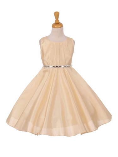 Banana Pleated Satin Scoop Neck Dress w/ Rhinestone Belt