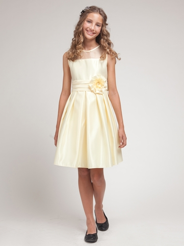 Banana Satin Dress w/Organza Trim Bodice