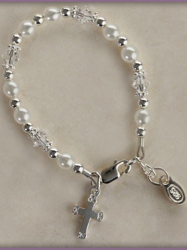 Baptism & Christening Infant Bracelet (Pearls & Crystals)