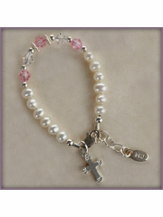 Baptism & Christening Infant Bracelet (Pearls & Pink Crystals)