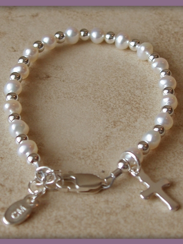 Baptism & Christening Infant Bracelet (Pearls, Silver & Cross)