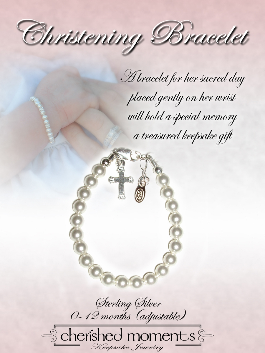 baptism bracelet crystal baby clear plaque christening pearls apr diamond swarovski cross engraved s april children