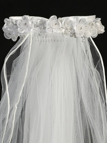 Beaded Flowers w/ Rhinestone & 24'' White Communion Veil
