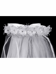 Beaded Organza Flowers w/ Satin Bow Communion Veil