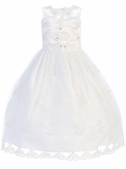 Beaded & Rhinestone Organza Communion Dress
