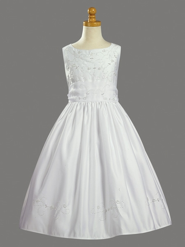 Beaded Satin Bodice & Skirt w/ Beaded Organza Skirt Communion Dress