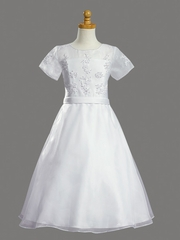 Beaded Satin Bodice w/ Sheer Neckline & Organza Skirt Communion Dress