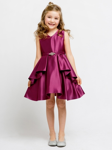 Berry Satin Sleeveless V-Neck Dress w/ Ruffles