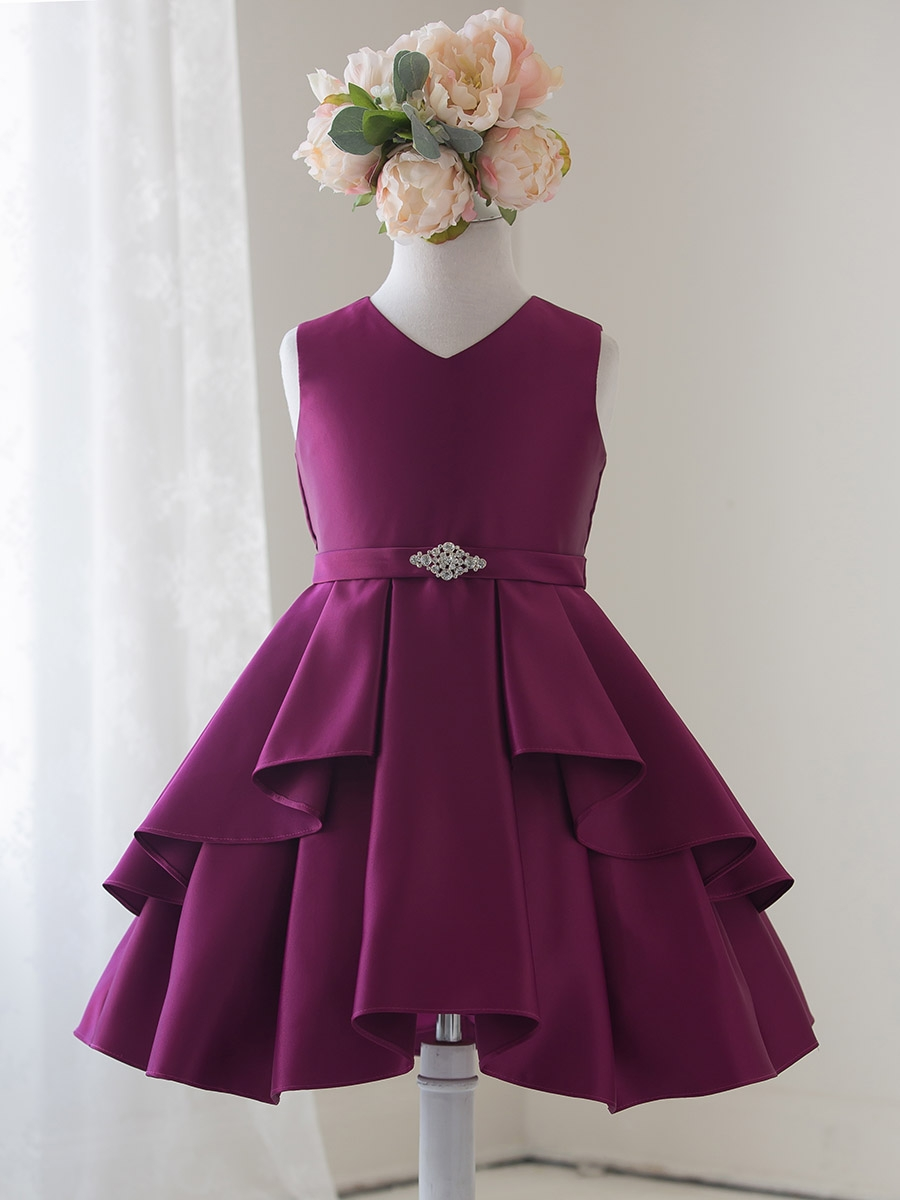 Berry Satin Sleeveless V Neck Dress W Ruffles