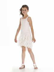 Biscotti All Dolled Up Pink & Ivory High Low Dress