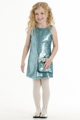 Biscotti Aqua Grand Entrance Party Dress & Purse Set