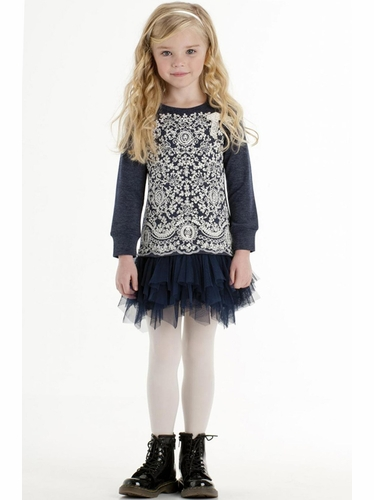 Biscotti Navy Blue Delovely Lace & Tulle Dress