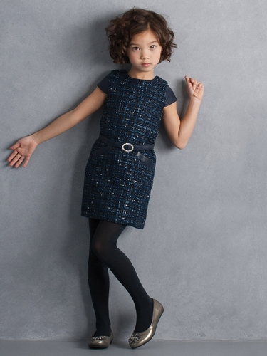 Biscotti Navy Tweed Dress w/ Belt