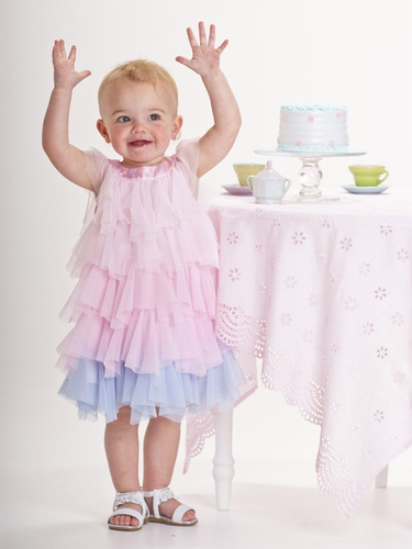 Biscotti Pink Tulle Ruffle Dress w/ Blue Accents