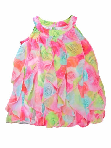 Biscottii Floral Vertical Ruffle Dress