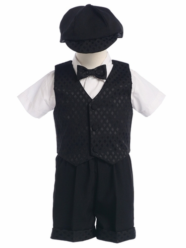Black 5 Piece Diamond Jacquard Vest & Shorts