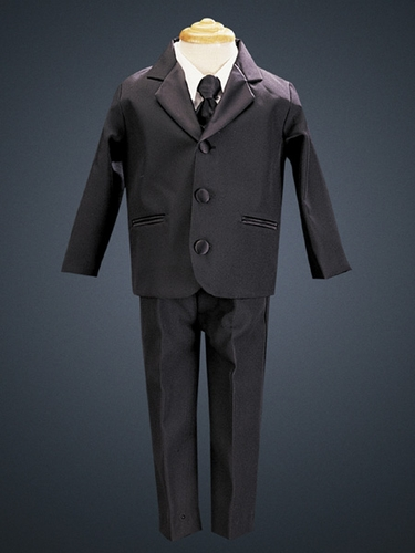 Black 5 Piece Three Button Satin Tuxedo w/ Vest & Tie