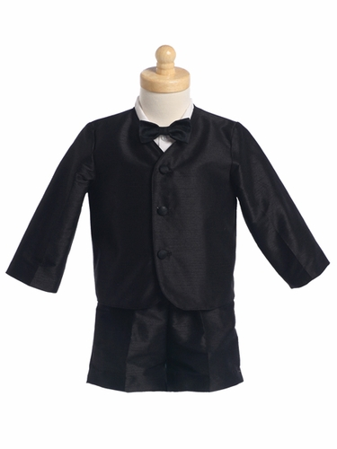 Black Boys Poly Silk Eton Jacket & Shorts