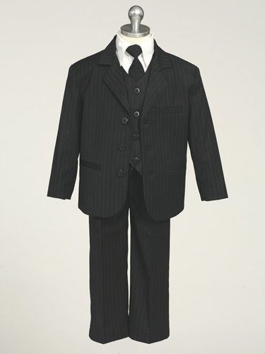 Black Boys Suit - 5 Piece Pinstriped Suit
