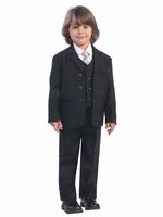 Boys' Black 5 Piece Suit