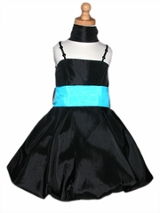 Black Bubble Dress w/ Bead Shoulder Straps