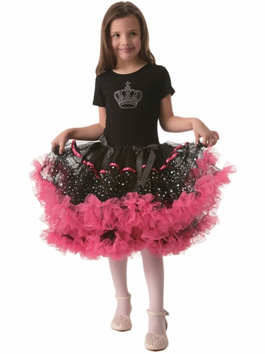 Black Cap Sleeve Crown Pettidress w/Pink Ruffles