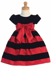 Swea Pea & Lilli Black Cap-Sleeved Velvet Bodice Dress w/ Red & Black Striped Skirt