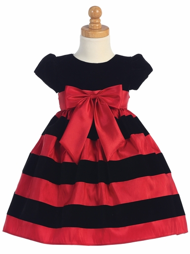 Black Cap-Sleeved Velvet Bodice Dress w/ Red & Black Striped Skirt
