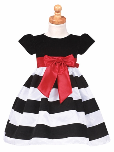 Black Cap-Sleeved Velvet Bodice Dress w/ White & Black Striped Skirt