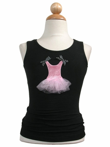 Black Dress Tank Top w/Pink Dance Tulle Dress Design