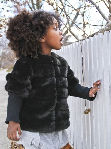 Black Faux Baby Mink Bomber