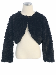 Black Feather Faux Fur Jacket w/ Button Closure