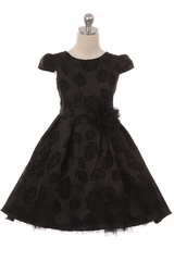 Kid's Dream 402 Black Floral Jacquard Hi-Lo Dress