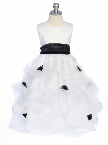 Black Flower Girl Dress - Matte Satin Bodice Gathered Organza