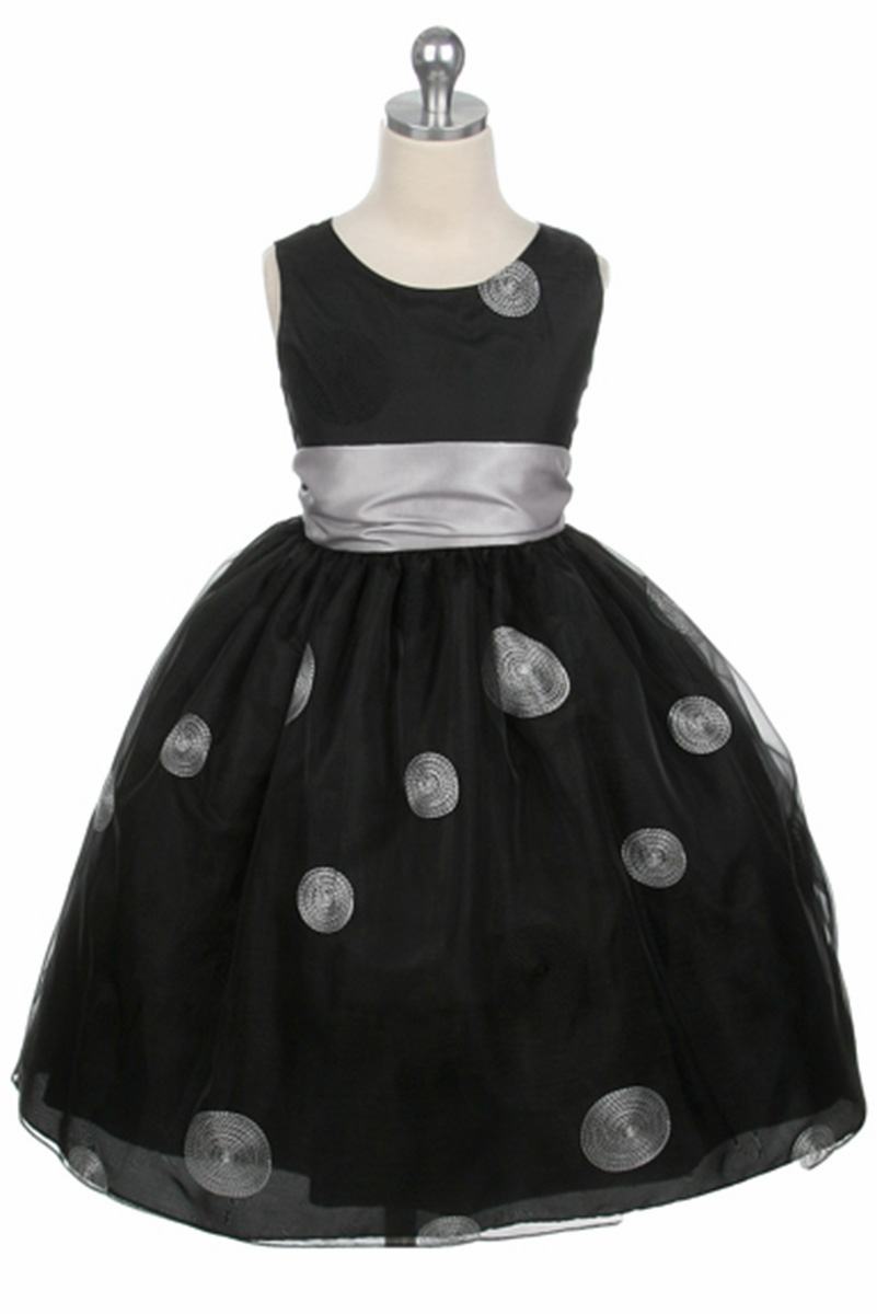 Black Flower Girl Dress Polka Dot Embroidered Organza Dress