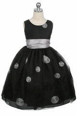 Black Flower Girl Dress - Polka Dot Embroidered Organza Dress