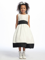 Black Flower Girl Dress - Sleeveless Shantung w/ Sash