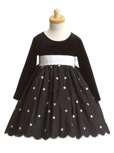 Black Flower Girl Dress - Stretched Velvet Bodice w/ Polka Dot Skirt