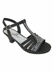 Girls' Black Dress Sandals w/ Rhinestones