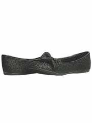 Black Glitter Childrens Flat Shoes w/ Bow
