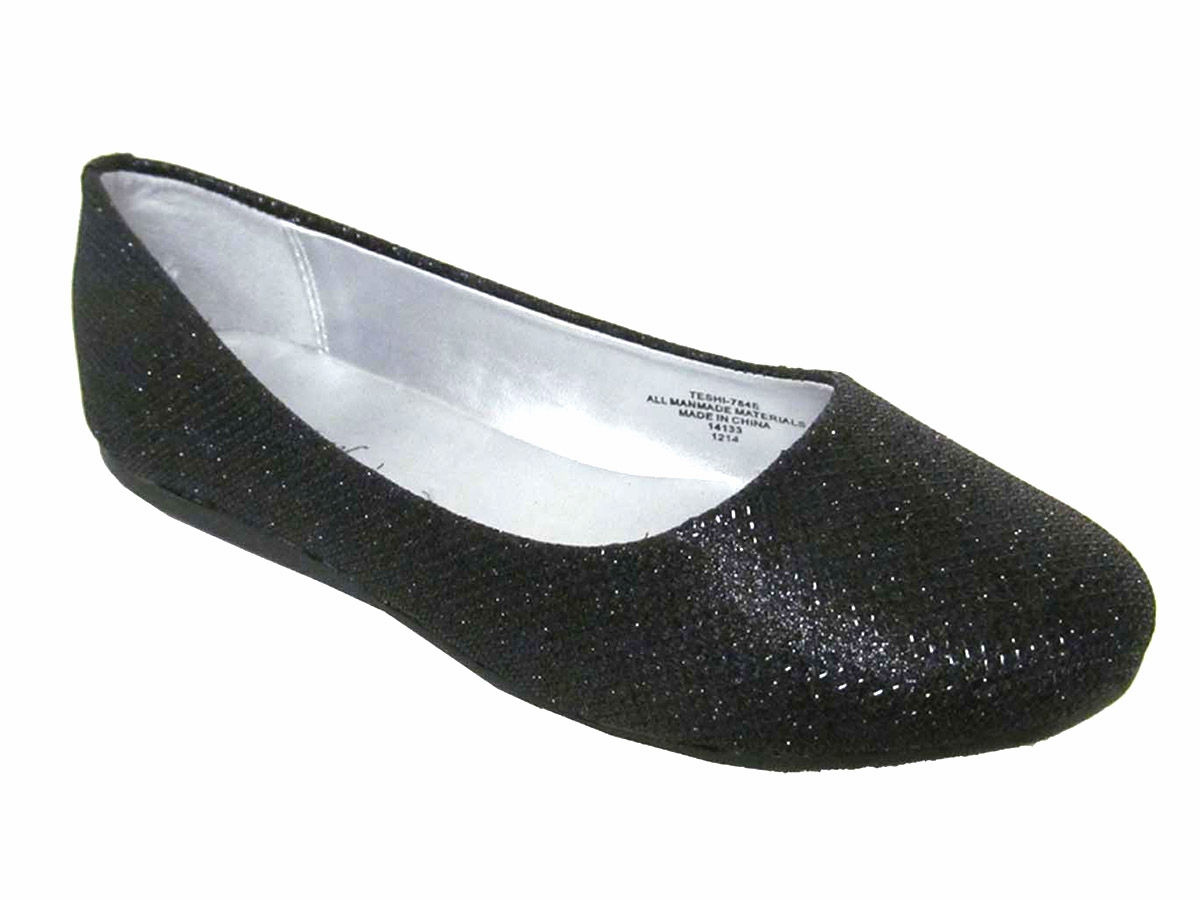 43744c87cf2c ... Black Glitter Flat Shoes. Click to Enlarge