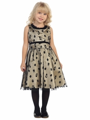 Black & Gold Cat Dress w/ Fur Collar