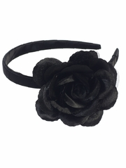 Black Headband w/ Large Rose