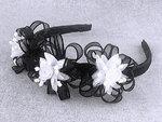 Black Headband w/ White Rosebuds